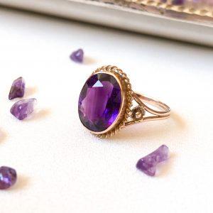 Vintage 9ct Rose Gold Amethyst Ring