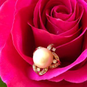 South Sea Pearl Diamond Ring