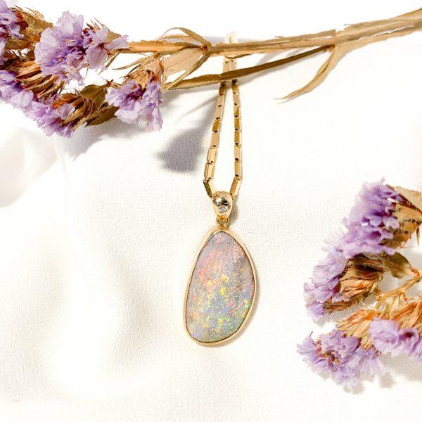 9ct Gold Boulder Opal and Diamond Pendant