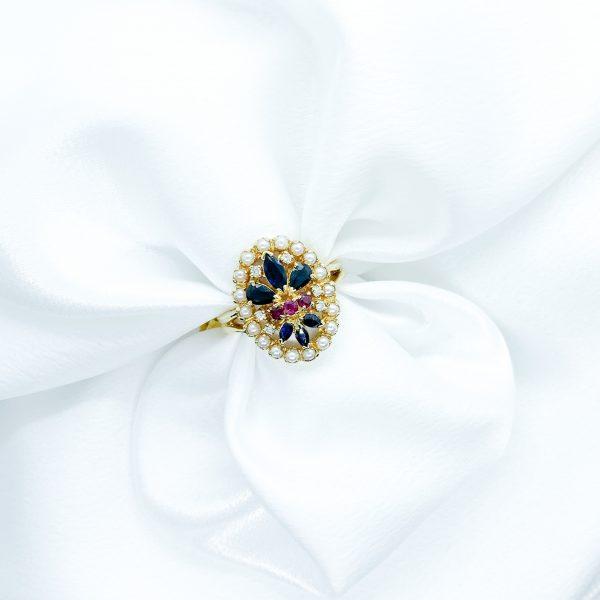 Sapphire Ruby Diamond Pearl Ring