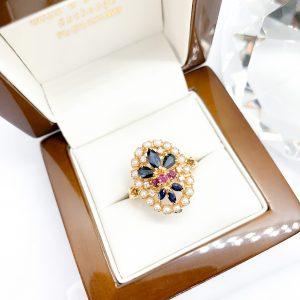 Sapphire Ruby Pearl Diamond Ring