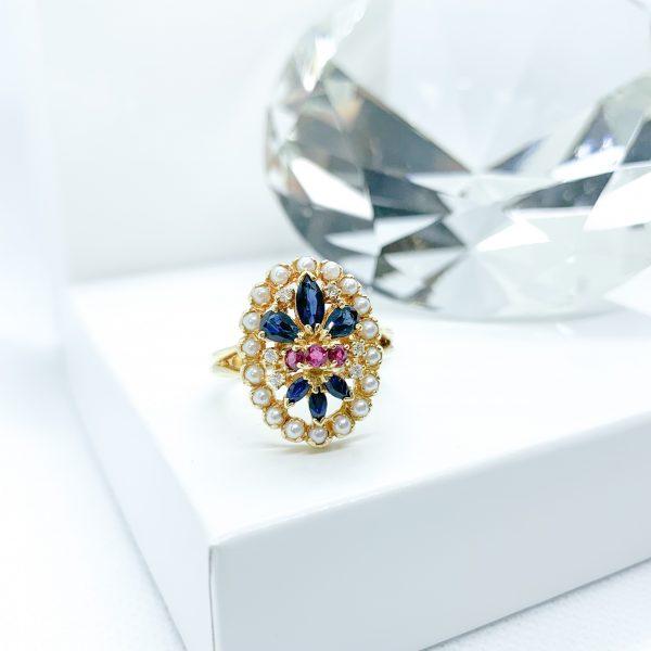 Sapphire Ruby Diamond Ring